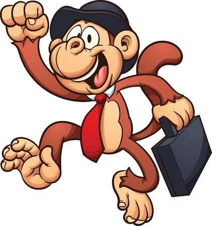 jumping monkeys: Monkey with a bowler hat and briefcase.  clip art illustration with simple gradients. All in a single layer.