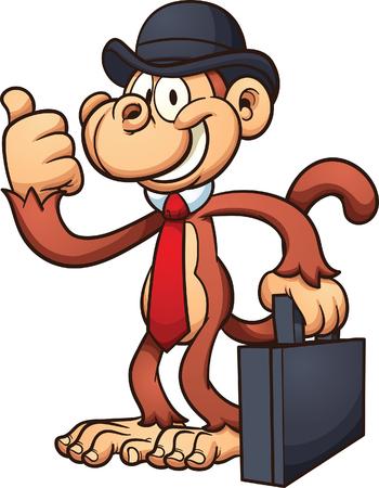 Cartoon worker monkey with thumbs up. Ilustracja