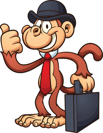 bowler hat: Cartoon worker monkey with thumbs up. Illustration