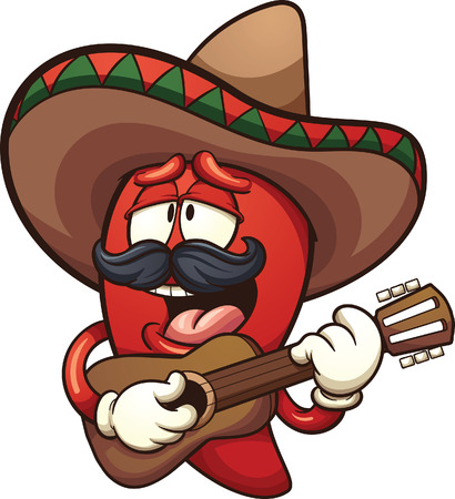 chili pepper: Mexican chili pepper singing with a guitar. Illustration