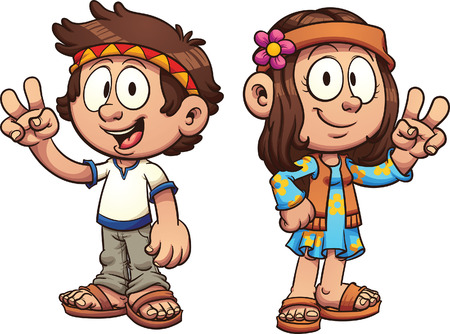 Cartoon hippie kids. clip art illustration with simple gradients. Each on a separate layer. Illustration