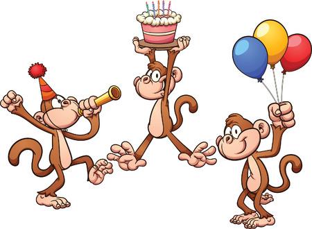 tortas de cumpleaños: monos de cumpleaños de dibujos animados.
