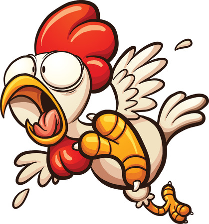 Scared cartoon chicken. Vector clip art illustration with simple gradients. All in a single layer.