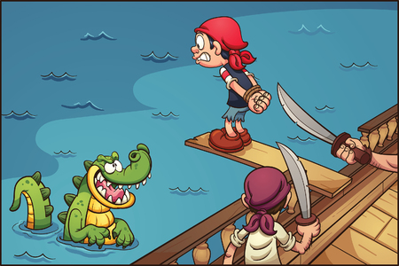 plank: Cartoon pirate kid walking the plank. Vector clip art illustration with simple gradients. Characters and background on separate layers.