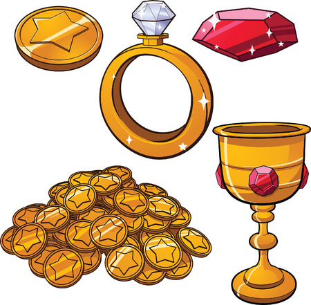 jewels: Cartoon treasure jewels. Vector clip art illustration with simple gradients. Each item on a separate layer.