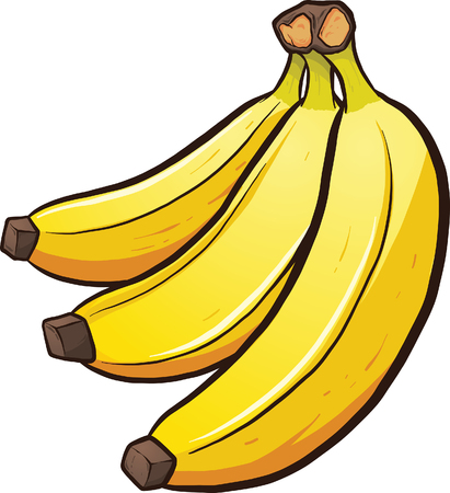 A bundle of cartoon bananas. Vector clip art illustration with simple gradients. All in a single layer.