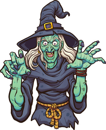brujas caricatura: malvada bruja de dibujos animados. Vector ilustración de imágenes prediseñadas con gradientes simples. Todo en una sola capa.