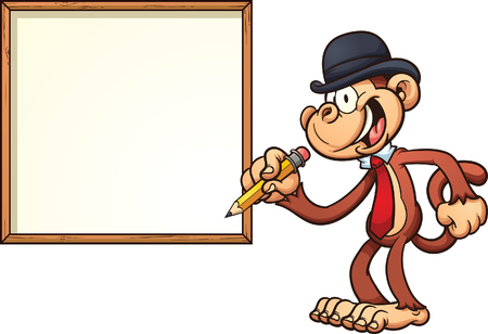 bowler hat: Monkey with a bowler hat and blank board. Vector clip art illustration with simple gradients. Monkey and board on separate layers.