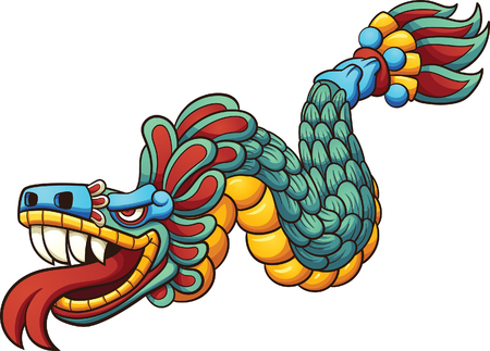 Cartoon Quetzalcoatl. Illustration
