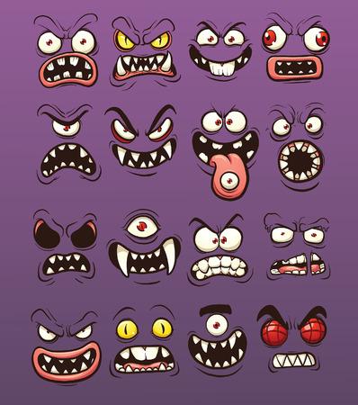 Cartoon eng en grappig monster gezichten. Vector illustraties illustratie met eenvoudig verlopen. Elk op een afzonderlijke laag.