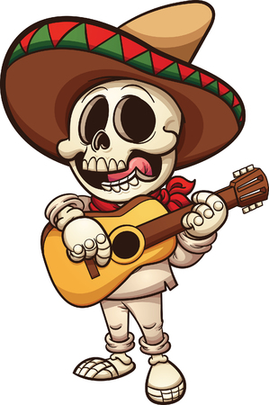 Mexican musician skeleton with guitar. Vector clip art illustration with simple gradients.