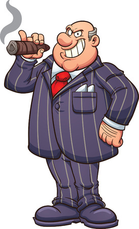Rich and fat businessman with a large cigar. Stock Illustratie