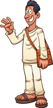 Tan man in white clothes and sandals. Ilustrace