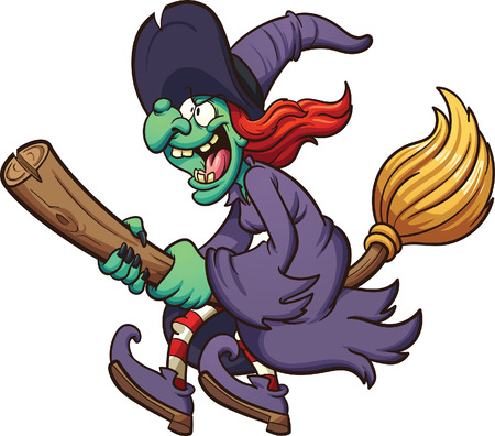 Crazy cartoon witch flying on her broom. Vector clip art illustration with simple gradients. All in a single layer.