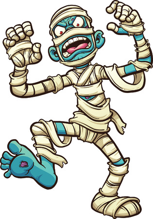 all in: Scary cartoon mummy. Vector clip art illustration with simple gradients. All in a single layer. Illustration