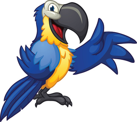 guacamaya caricatura: Blue cartoon macaw. Vector clip art illustration with simple gradients. All in a single layer. Vectores