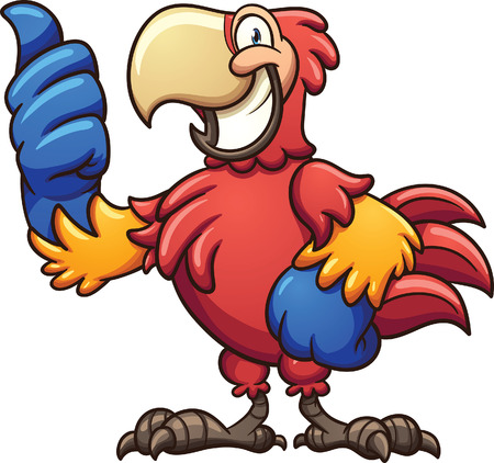 Red cartoon macaw with thumbs up. Vector clip art illustration with simple gradients. All in a single layer.