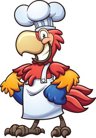 all in: Chef cartoon macaw. Vector clip art illustration with simple gradients. All in a single layer.