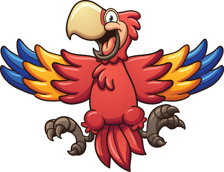 all in: Red cartoon macaw. Vector clip art illustration with simple gradients. All in a single layer.