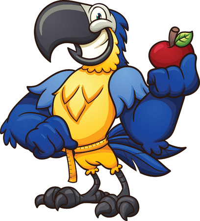 Blue macaw holding an apple and measuring it's waist. Vector clip art illustration with simple gradients. All in a single layer.