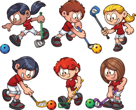 Cartoon kids paying floorball.  clip art illustration with simple gradients. Each on a separate layer. Banco de Imagens - 66538438