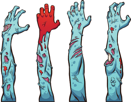 gore: Zombie hands and arms. Vector clip art illustration with simple gradients. Each on a separate layer.