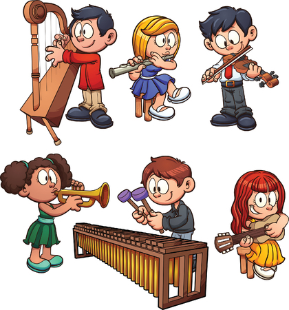 Los niños tocando instrumentos musicales. clip de arte de la ilustración con gradientes simples. Cada uno en una capa separada.