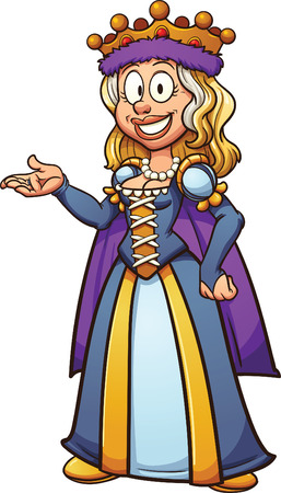 Cartoon medieval queen. Vector clip art illustration with simple gradients. All in a single layer.