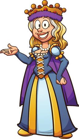 De dibujos animados reina medieval. Vector ilustración de imágenes prediseñadas con gradientes simples. Todo en una sola capa. Ilustración de vector