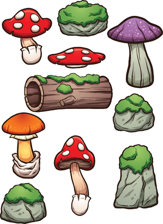 moss: Cartoon mossy rocks and mushrooms. Clip art illustration with simple gradients. Each on a separate layer. Illustration