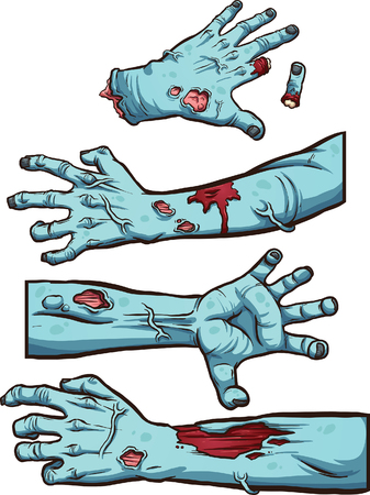 Zombie hands. Vector clip art illustration with simple gradients. Each on a separate layer.