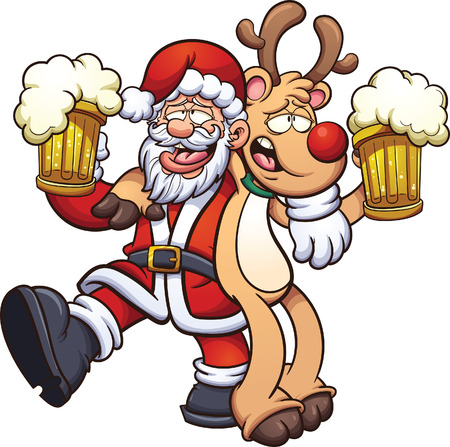 Drunk Santa Claus and reindeer. Vector clip art illustration with simple gradients. All in a single layer.