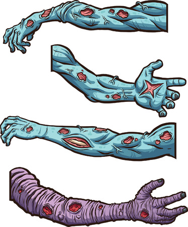 Cartoon zombie arms. Vector clip art illustration with simple gradients. Each on a separate layer. Çizim