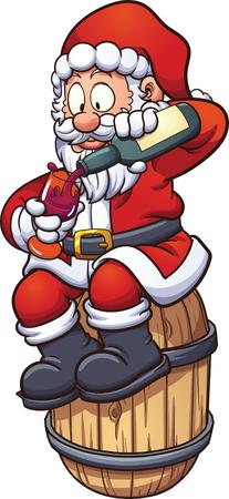 Cartoon Santa Claus drinken een beker wijn, zittend op een vat. Vector illustraties illustratie met eenvoudige hellingen. Kerstman en vat op afzonderlijke lagen. Stock Illustratie