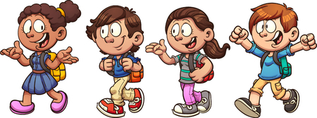 walk: Kids walking and talking back to school. Vector clip art illustration with simple gradients. Each on a separate layer. Illustration