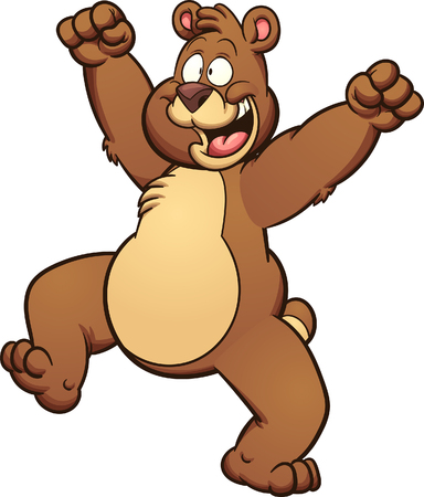thrilled: Happy cartoon bear. Vector clip art illustration with simple gradients. Some elements on separate layers.
