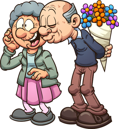 Grandparents in love. Vector clip art illustration with simple gradients. Each on a separate layer.