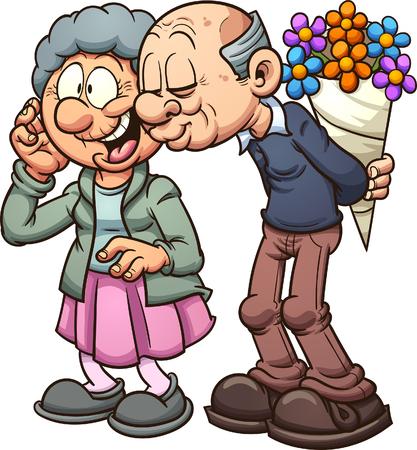 Grootouders in de liefde. Vector illustraties illustratie met eenvoudig verlopen. Elk op een afzonderlijke laag.