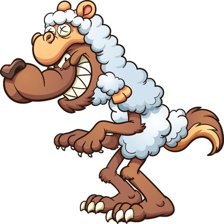 ovejas bebes: Un lobo de dibujos animados con piel de cordero. Vector la ilustración del arte de clip con gradientes simples. Todo en una sola capa.