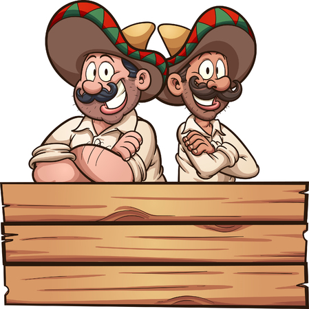 Cartoon Mexican friends with a wooden sign. Vector clip art illustration with simple gradients. Each on a separate layer.
