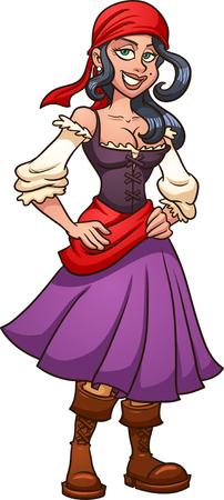 Cartoon piraat meisje. Vector illustraties illustratie met eenvoudig verlopen. Alle in een enkele laag. Stock Illustratie