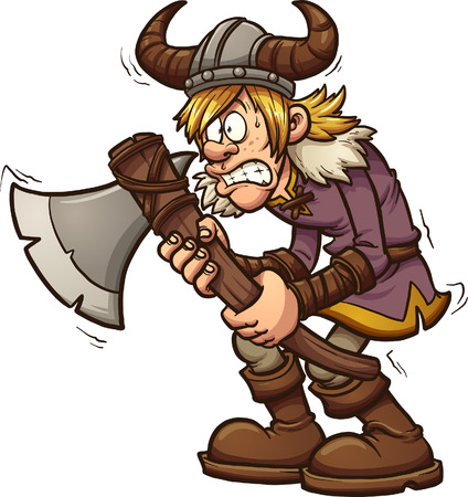 Scared cartoon viking. Vector clip art illustration with simple gradients. All in a single layer. Illustration