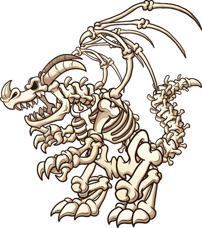 Cartoon skeleton Dragon. Vector clip art illustration with simple gradients. Some elements on separate layers.