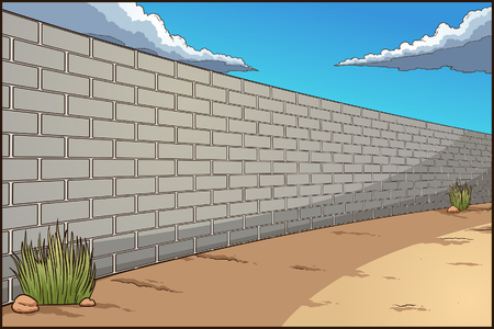 Wall background. Clip art illustration with simple gradients. Some elements on separate layers. Ilustração
