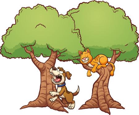 犬が間違ってツリーを吠えています。簡単なグラデーションとクリップ アート イラスト。別のレイヤー上の各要素。