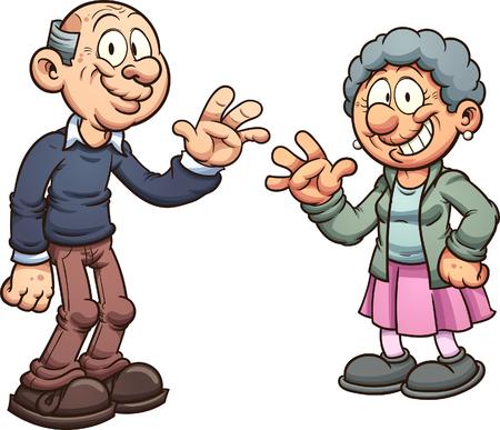 漫画の祖父母。シンプルなグラデーション ベクター クリップ アート イラスト。それぞれ別のレイヤーにします。