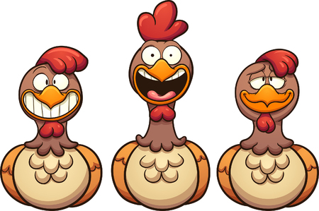 thrilled: Happy cartoon hens. Vector clip art illustration with simple gradients. Each on a separate layer.