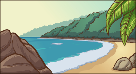 Cartoon beach background. Vector clip art illustration with simple gradients. Some elements on separate layers. Çizim