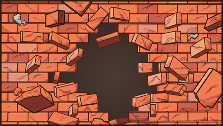 Broken brick wall. Vector clip art illustration with simple gradients. Some elements on separate layers.