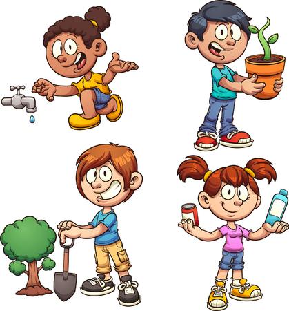 환경을 돕는 아이들. 간단한 그라디언트 벡터 클립 아트 그림입니다. 각각 별도 레이어에. 스톡 콘텐츠 - 73472015